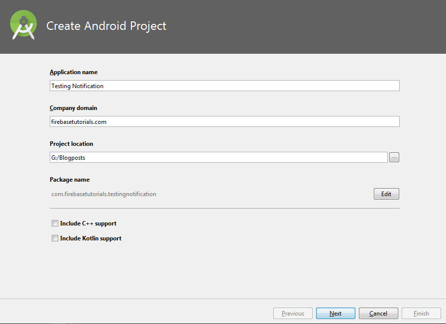 Create Application for Firebase Notification in Android Studio