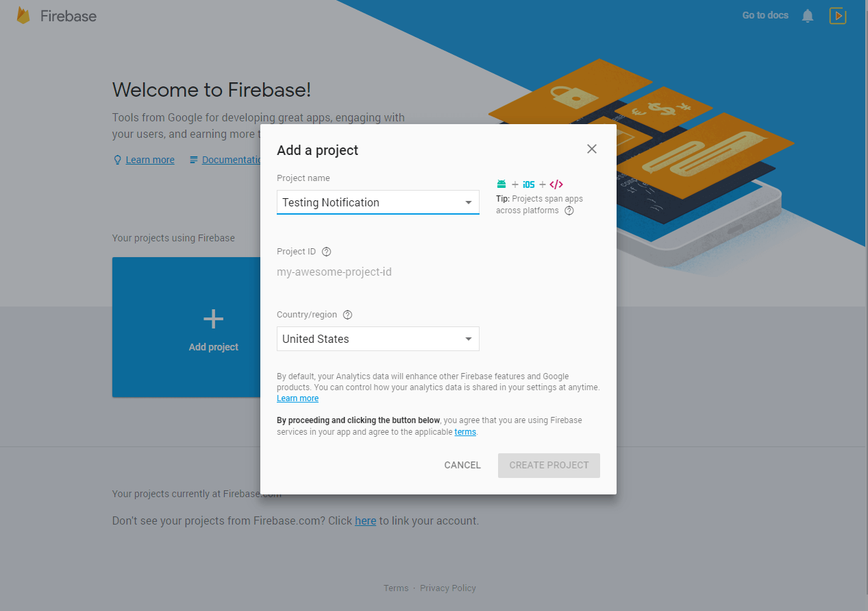 Firebase Push Notification for Android Sign up at Firebase Console