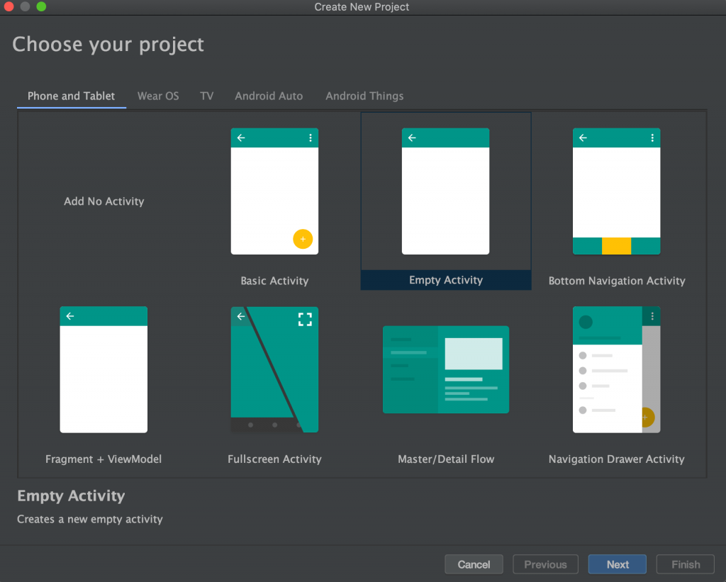 Choosing Project Android Studio Screenshot