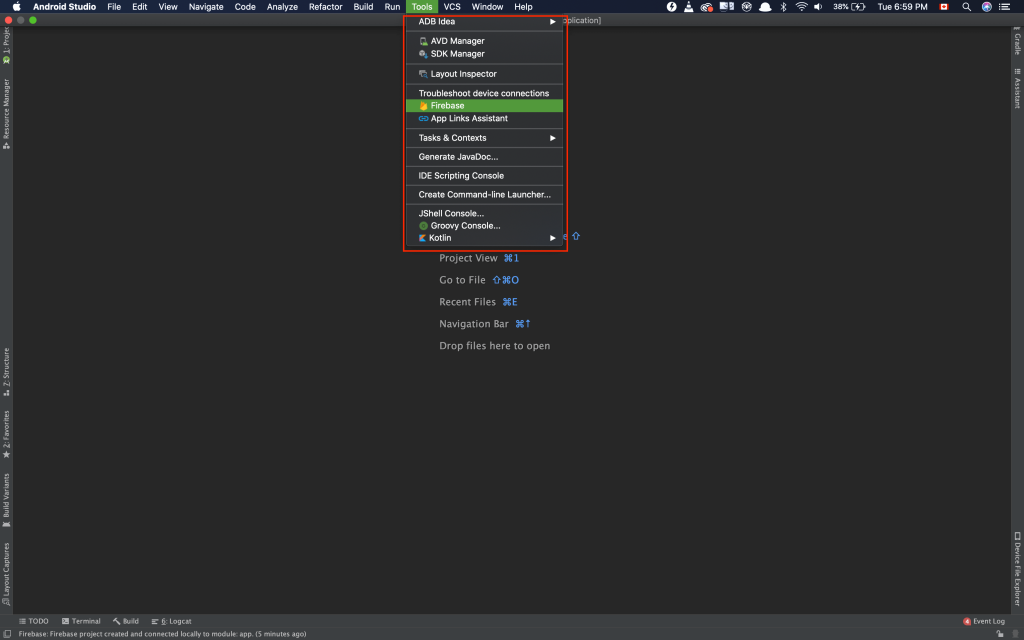 Selecting Firebase Plugin in Android Studio Screenshot