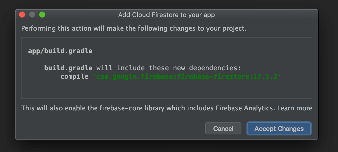 Implementing libraries for Firestore