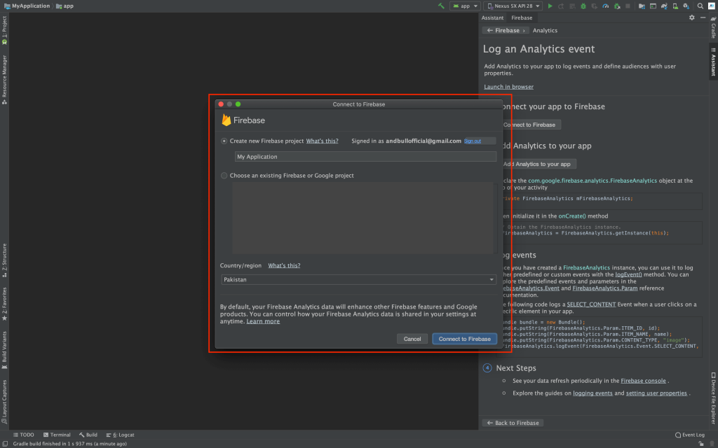 Connecting Android Studio Project to Firebase Screenshot
