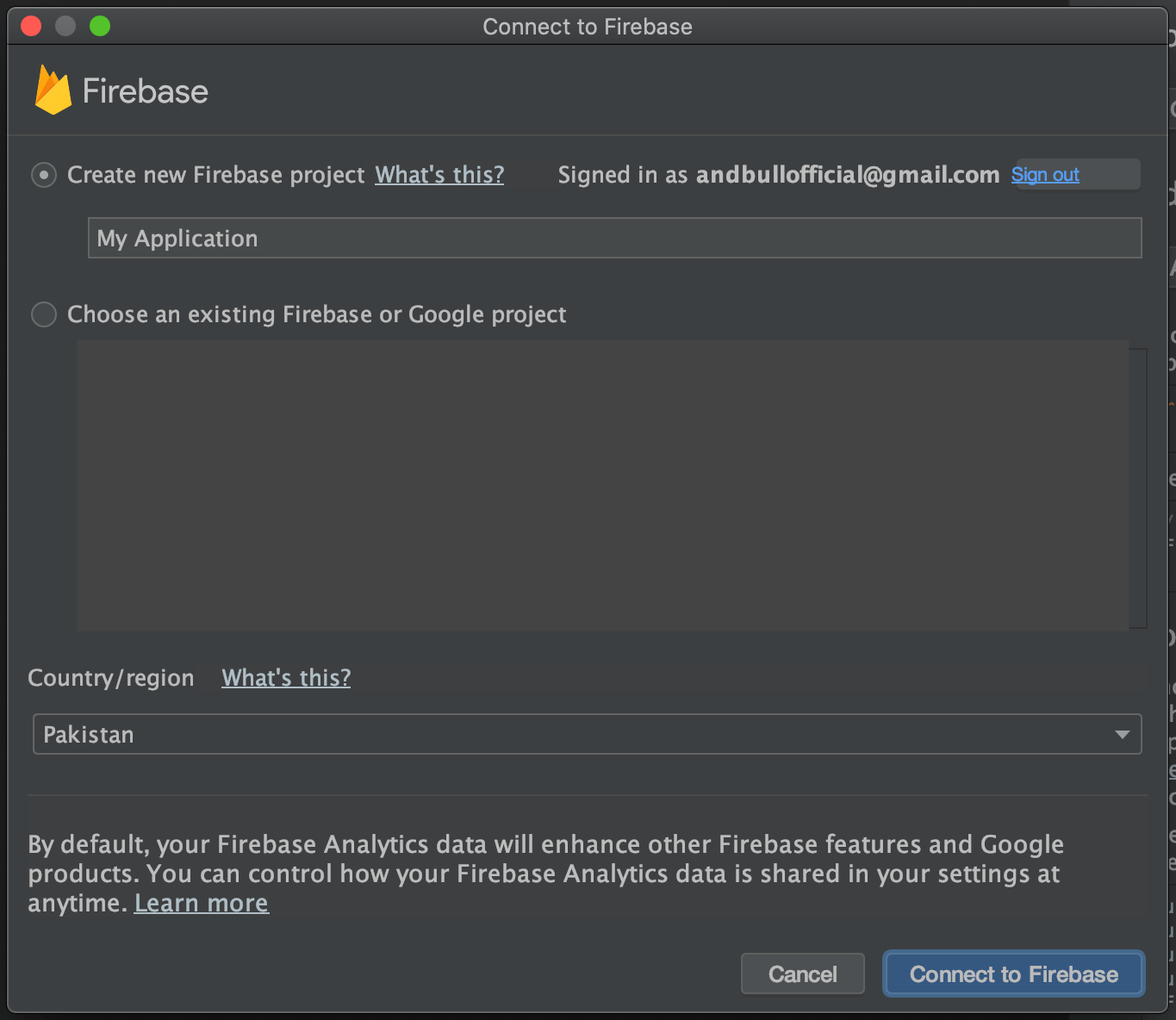 Selecting Project Window Firebase