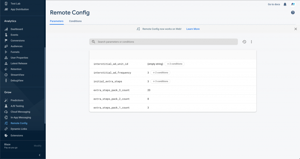 Firebase Remote Config Screenshot