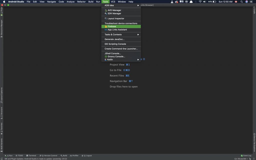 Selecting Firebase Plugin Android studio screenshot