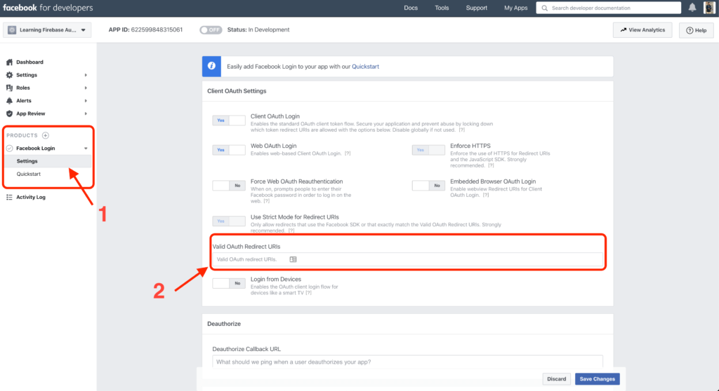 Saving Firebase OAuth Redirect URI to Facebook Dashboard