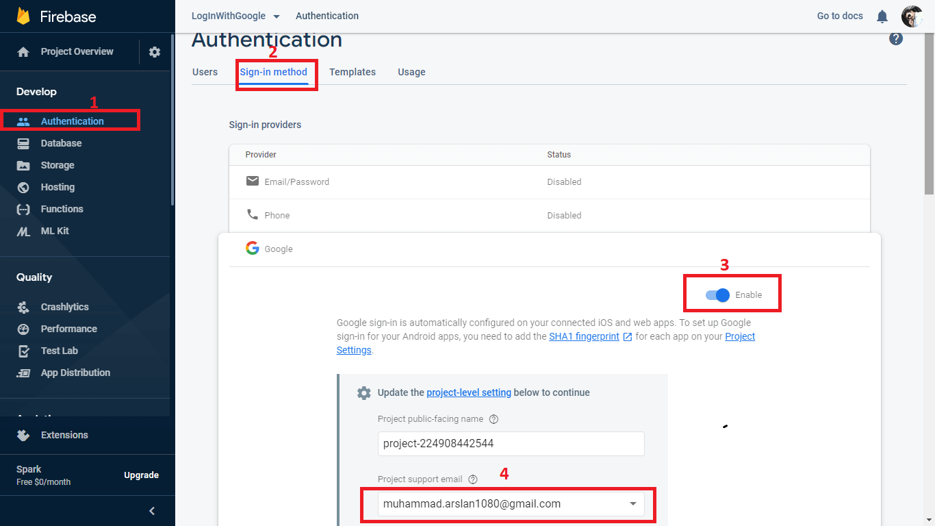 Enable Google authentication