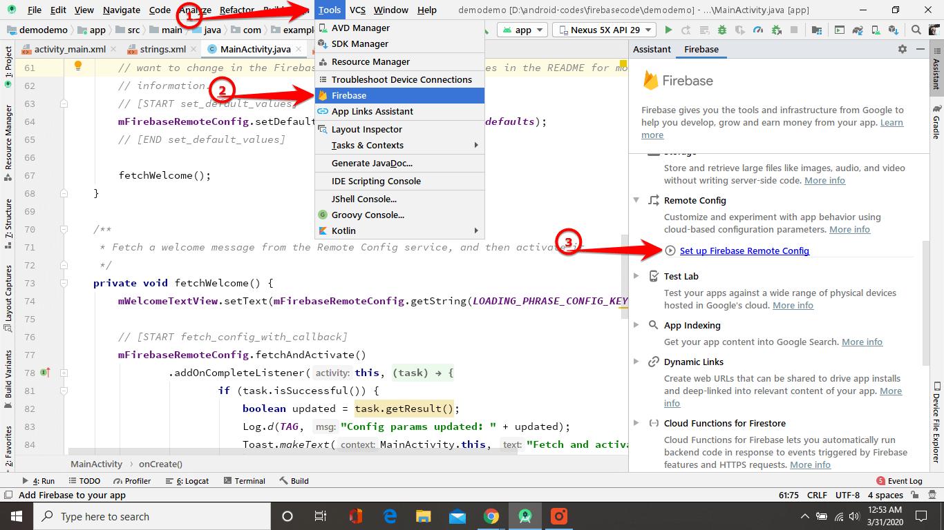 Add remote config to app