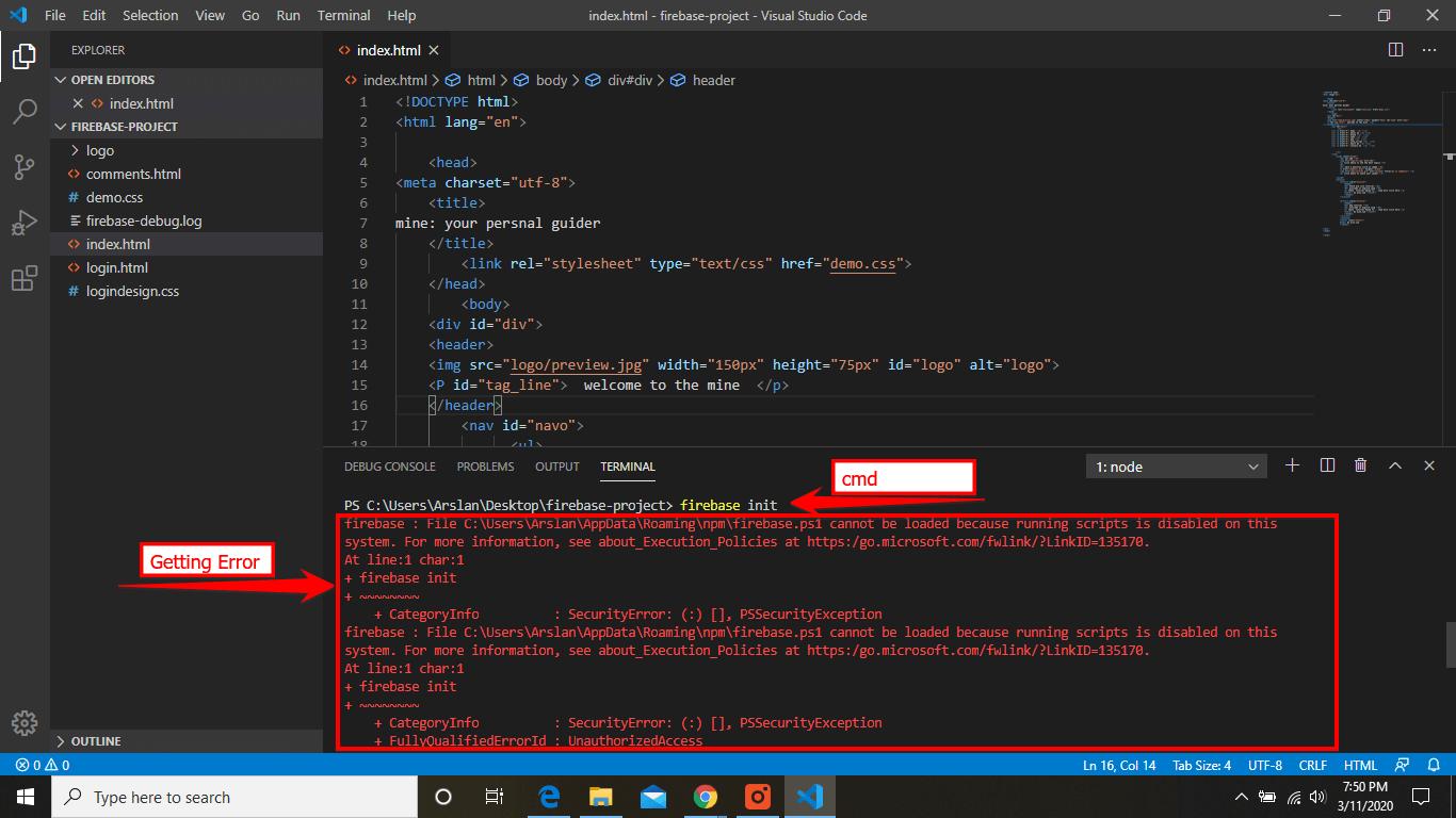 Firebase init error
