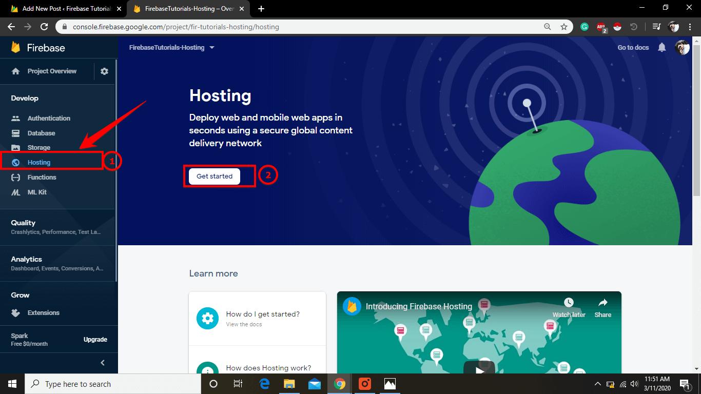 Click Hosting Tab