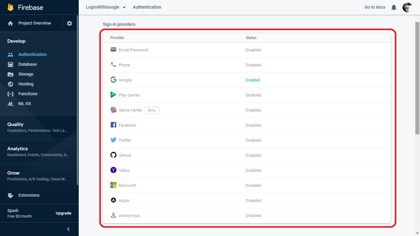 Firebase authentication method