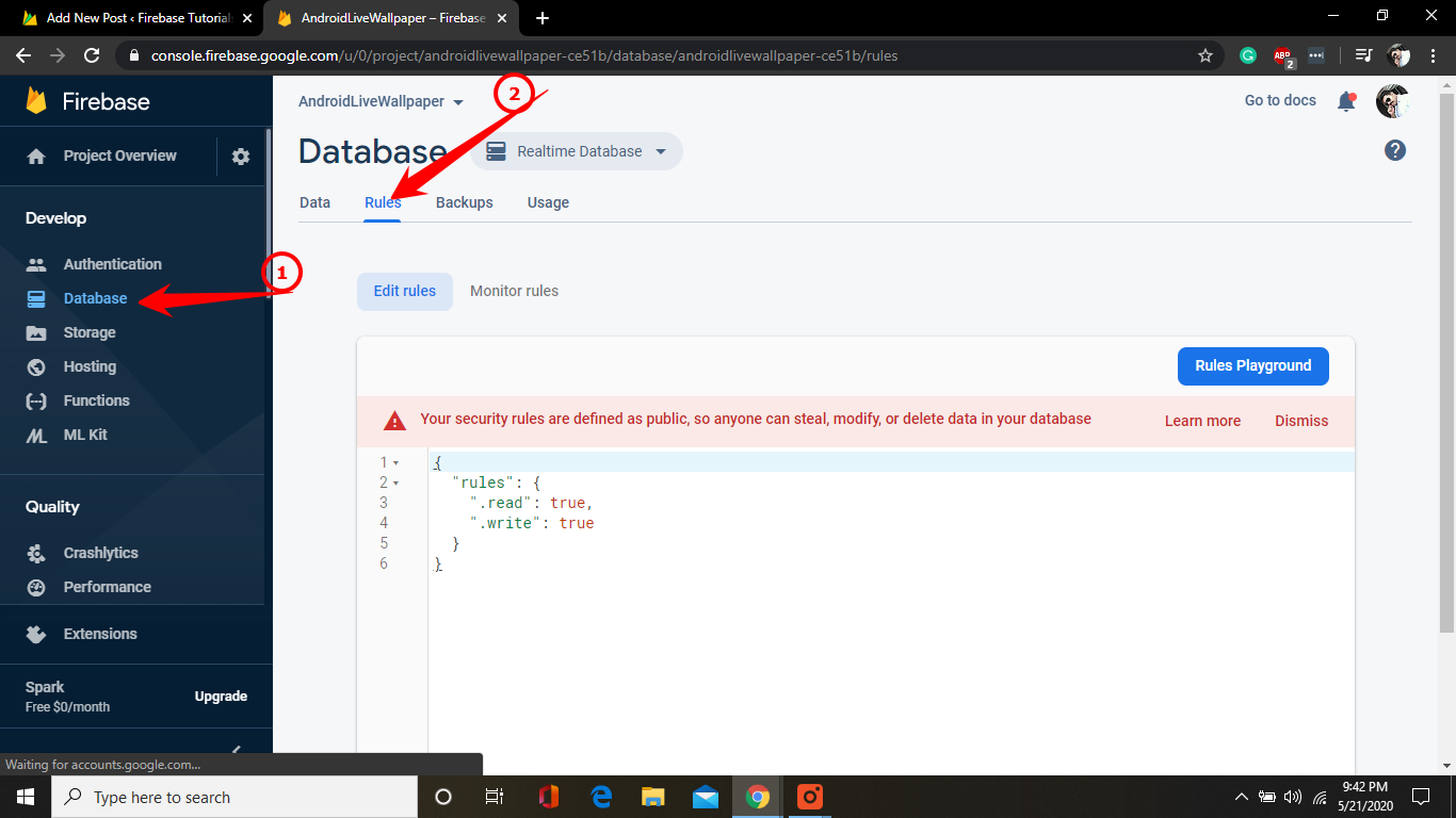 Firebase database rules