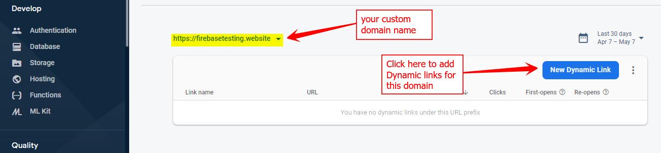 Custom Domain in Firebase console