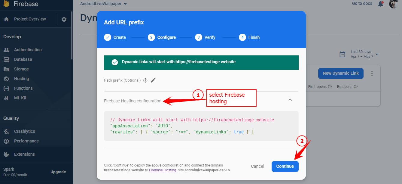 Custom Domain dynamic links with Firebase Hosting